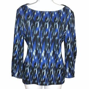 Thakoon Addition Blue Abstract Long Sleeve Top 2